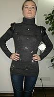 Свитер женский серый со звёздами и декоративными погонами. Оптом.