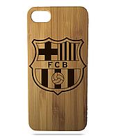 "Дерев'яний чохол  Wooden Cases для Apple iPhone 7/7s/8 з лазерним гравіюванням ""FC Barcelona"" Бамбук"
