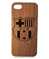 """Дерев'яний чохол  Wooden Cases для Apple iPhone 7/7s/8 з лазерним гравіюванням """"FC Barcelona"""" Вишня"""