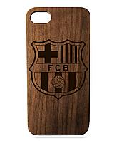 """Дерев'яний чохол  Wooden Cases для Apple iPhone 7/7s/8 з лазерним гравіюванням """"FC Barcelona"""" Орех"""