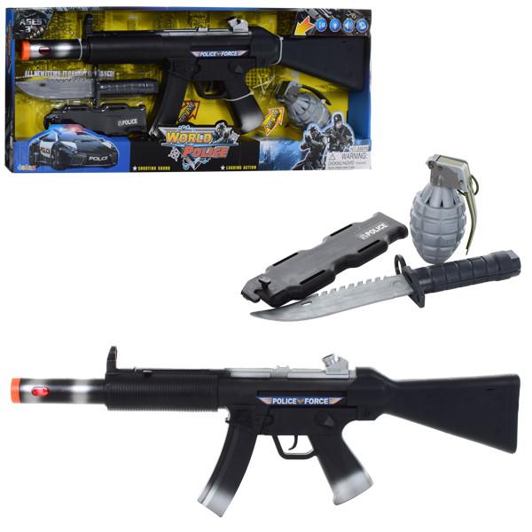 Набор полицейского 33210 (24шт) автомат59см,граната,нож,ножны,зв,св,вибр,бат(таб),кор,62-24-5см