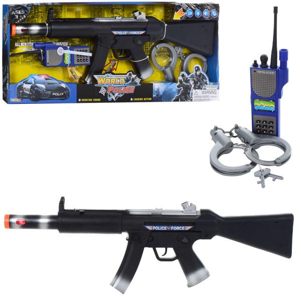 Набор полицейского 33230 (24шт) автомат59см,пистолет19см,наручники,зв,св,вибр,бат(таб),кор,62-24-5см