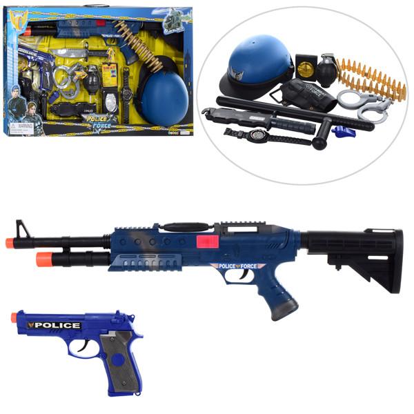 Набор полицейского 33510 (10шт) автомат67см,пистолет19см,гранатакаска,наручники,бат,в кор,72-42-9см