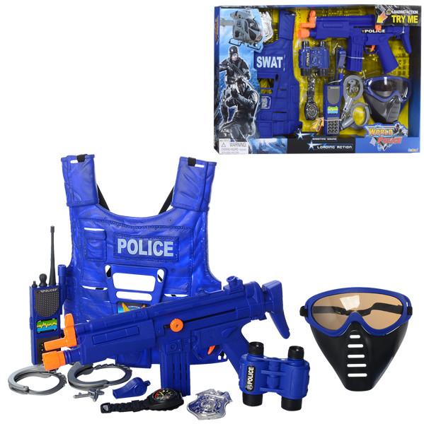 Набор полицейского 33530 (18шт) автомат37см,жилет,маска, бинокль,зв,св,бат(таб),в кор-ке,66-38-5см