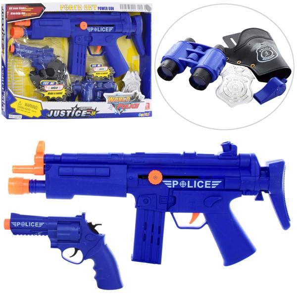 Набор полицейского 34130 (48шт) автомат37см-трещотка,кобура,пистолет16см,наручники,в кор,40-26-4см