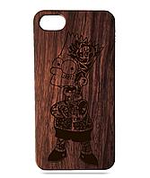 """Дерев'яний чохол  Wooden Cases для Apple iPhone 7/7s/8 з лазерним гравіюванням """"Bart Simpson"""" Красное Дерево"""