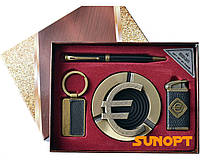 Подарочный набор Евро 4в1 Зажигалка,Пепельница,Ручка,Брелок AL732
