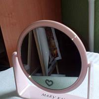 Зеркало большое, двусторонее, розовое, сердцес увеличением, диаметр 17 см