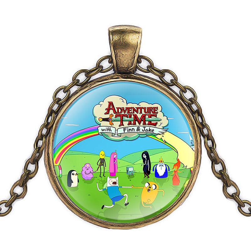 Кулон стеклянная Adventure time intro Время приключений                               бронза