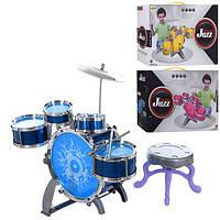 Барабанная установка XV755-7 (12шт) барабан 5шт, тарелка, 3цвета, в кор-ке, 46-32,5-16см