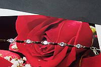 Браслет серебро с золотыми пластинками женский с фианитами