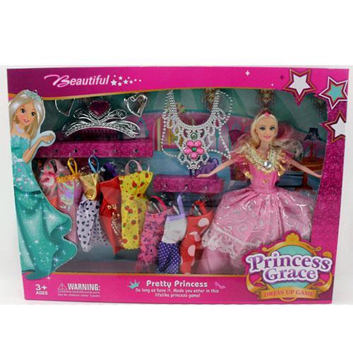 Кукла с нарядом D21C (24шт) 28см, платья 9шт, корона, ожерелье, серьги, в кор-ке, 48-35-5,5см