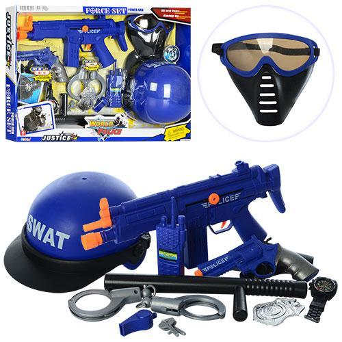 Набор полицейского 34310 (12шт) автомат-трещот,каска,очки,пистолет,звук,бат(табл),в кор-ке,59-40-5см