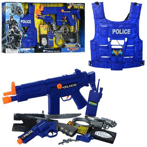 Набор полицейского 33520 (18шт) автомат-трещ,пист,жилет,кобура,нож,наручн,зв,бат(табл),кор,66-38-5см