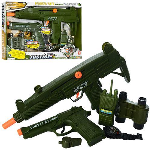 Набор полицейского 34140 (48шт) автомат-трещот,пистолет, бинокль,часы,рация,в кор-ке,40-26-4см