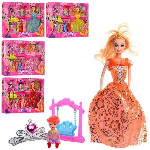Кукла с нарядом 8144E4 (36шт) 28см, дочка10см,качель,платья,диадема,микс вид,в кор-ке,32,5-42-5,5см