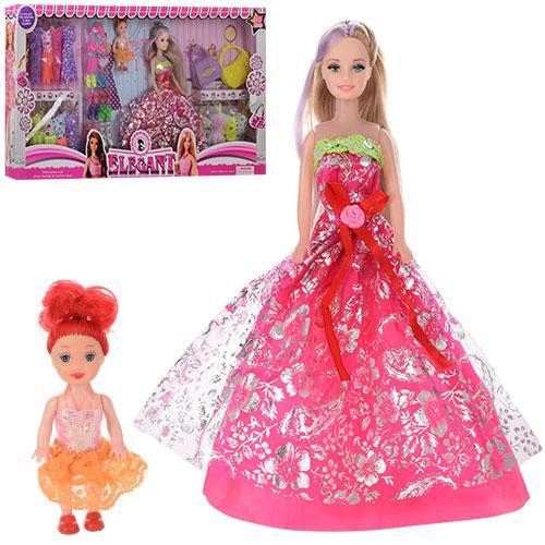 Кукла с нарядом Q21-2 (12шт) 28см,дочка10см,платья15шт,обувь,сумочка2шт,аксессуар,в кор-ке,64-33-6см