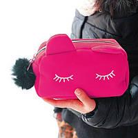 Косметичка несессер велюровая Кот розовый