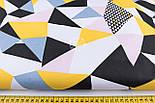"""Ткань хлопковая """"Калейдоскоп из треугольников"""", цвет жёлтый, чёрный, голубой, розовый №1166а, фото 2"""