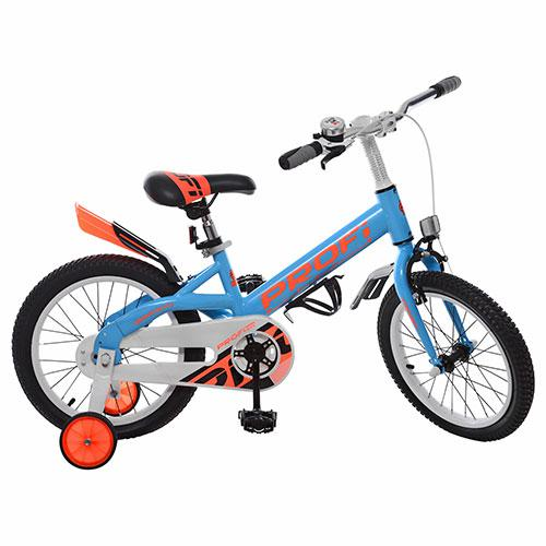 Велосипед детский PROF1 16д. W16115-2 (1шт) Original,голубой,крылья,звонок,доп.колеса