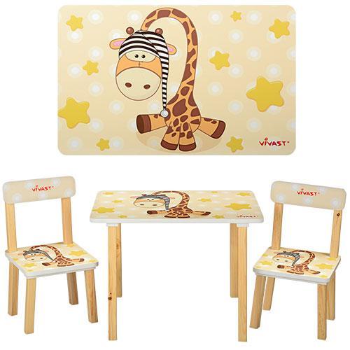 Столик 501-15 (1шт) деревянный, 60-40см, 2 стульчика, бежевый жираф,