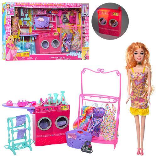 Кукла с нарядом JX600-39 (12шт) 29см,платье3шт,прачечная-стир.маш-зв,св,аксесс,бат,кор,54,5-33-7см