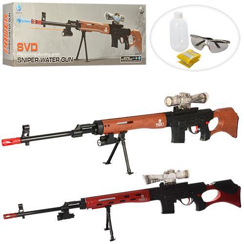 Ружье HT9909-3 (24шт) 119см, водяные пули, очки, свет, лазер, 2цвета, на бат-ке, в кор-ке, 65-22-7см