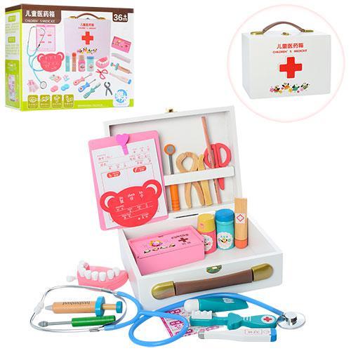 Деревянная игрушка Доктор MD 1170 (10шт) мед.инструменты,челюсть,чемодан,в кор-ке,26-22-10,5см