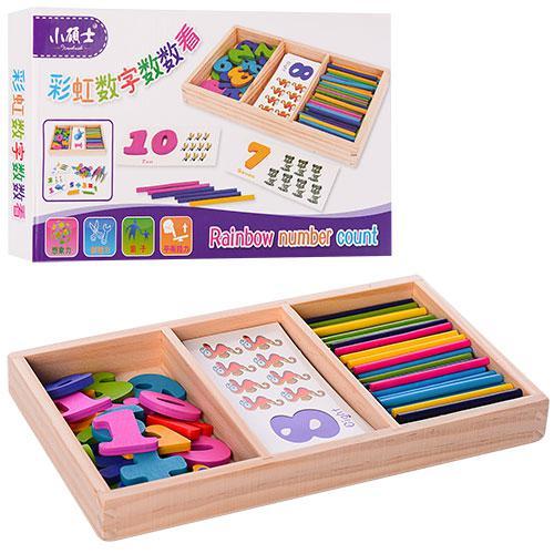 Деревянная игрушка Набор первоклассника MD 1044 (60шт) счетн.палочки,цифры,карточ,кор,27-15,5-3см