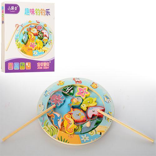 Деревянная игрушка Рыбалка MD 1043 (60шт) удочка с магнитом,морск.обитат10шт,в кор,25,5-25,5-2,5см