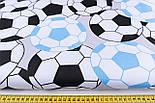 """Ткань хлопковая """"Футбольные мячи"""", цвет голубой и чёрный, №1167, фото 2"""