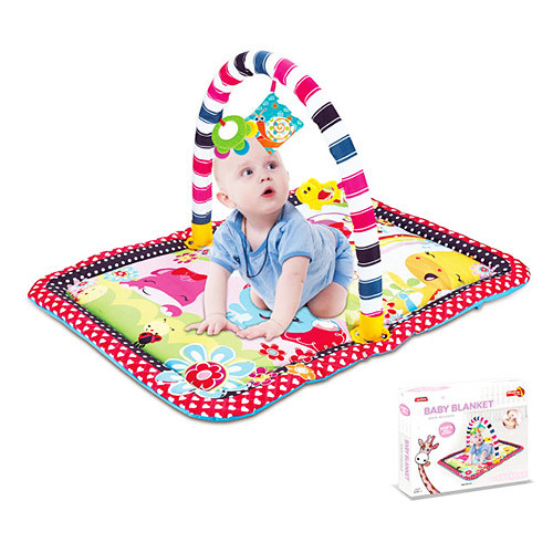 Коврик для младенца 023-47D (12шт) прямоуг 84-64см,дуга,подвески 3шт,в кор-ке, 56-49-6,5см
