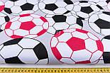 """Польская бязь """"Футбольные мячи"""", цвет красный и чёрный, №1168, фото 2"""