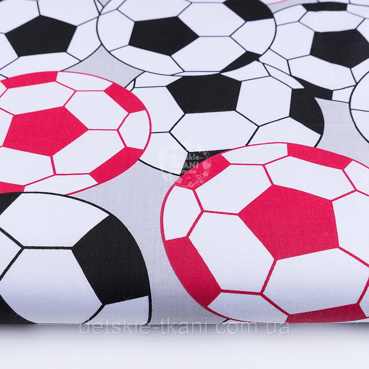 """Польская бязь """"Футбольные мячи"""", цвет красный и чёрный, №1168"""