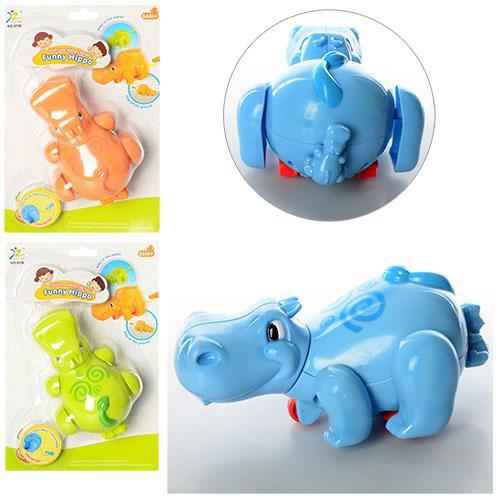 Заводная игрушка 517B (120шт) бегемотик, 3 цвета, на листе, 17-25-8 см