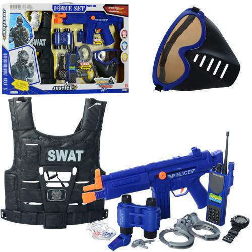 Набор полицейского 34290 (18шт) автомат, звук, свет, жилет, маска, на бат-ке, в кор-ке,66-38-5,5см