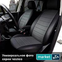 Чехлы для Fiat Doblo, Черный + Серый цвет, Экокожа