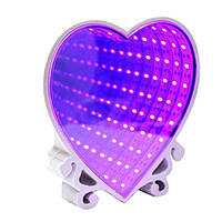Бесконечное зеркало Infinity Mirrow Световой тунель Сердце со свечением разных цветов