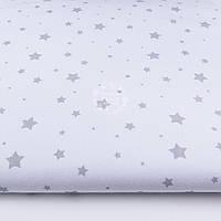"Ткань хлопковая ""Звездопад"" серый на белом фоне, №1169а"