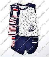 """Гр КС-13 """"1"""" /р.68/ /якорь на белом фоне/ Комплект для мальчика: безрукавка с шортами"""