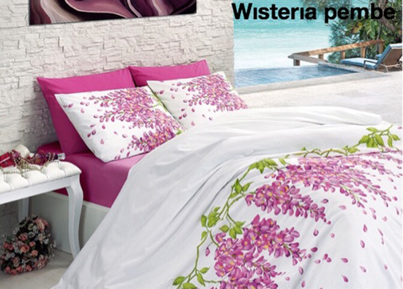 "Постельное белье First Choice (евро-размер) ранфорс № ""Wisteria Pembe"""