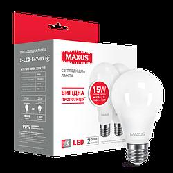 Набір LED ламп MAXUS A70 15W тепле світло E27 (по 2 шт.) (2-LED-567-01)