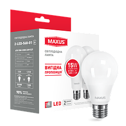 Набір LED ламп MAXUS A70 15W яскраве світло E27 (по 2 шт.) (2-LED-568-01)