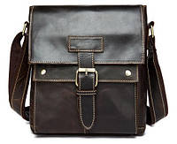 Мега-крутая сумка-мессенджер на плечо из натуральной кожи, коричневая  7217C