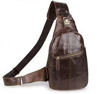 Кожаный черный рюкзак-сумка мужской на одну шлейку,  2467C