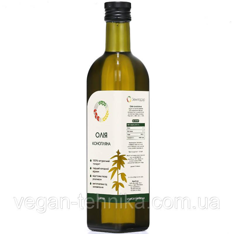 Конопляное масло холодного отжима (сыродавленное) нерафинированное