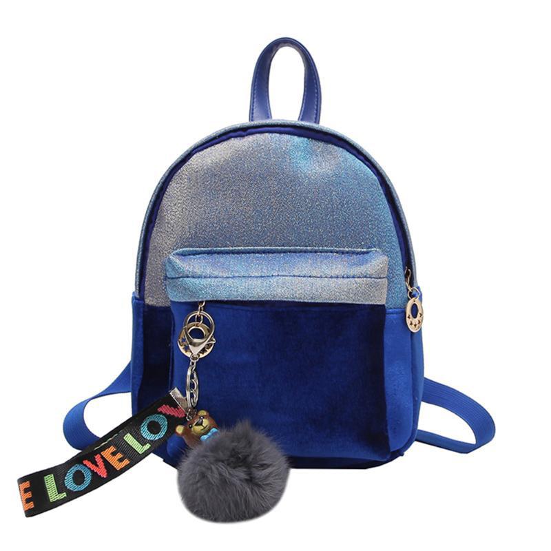d8ce418fd052 Рюкзак женский мини бархатный переливающийся с брелком (синий) - Bigl.ua