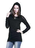 Стильный женский блузон с гипюром и шнуровкойр-р 44, 46.