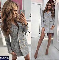 Серое женское платье пиджак выше колен для офиса