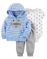 Стильный комплект для новорожденного мальчика (бодик с коротким рукавом, кардиган и штанишки)